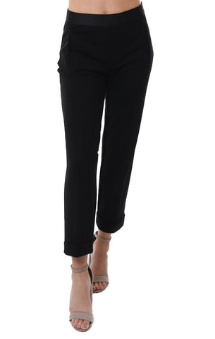 BAILEY 44 PANTS STRAIGHT LEG CROPPED CUFFED BLACK WORK PANT