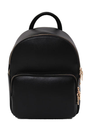 BACKPACKS MINI VEGAN LEATHER GOLD ZIPPER BLACK CHIC BACKPACK