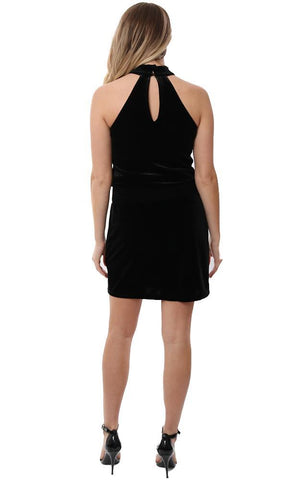 VERONICA M DRESSES SLEEVELESS HALTER NECK BLACK VELVET DROPWAIST HOLIDAY MINI DRESS