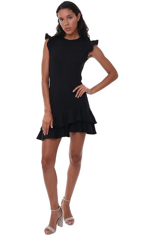 SUSANA MONACO DRESSES SLEEVELESS RUFFLE HEM BLACK FITTED MINI DRESS
