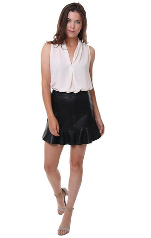 BB Dakota Skirts Faux Leather Ruffle Hem Black Chic Holiday Mini Skirt