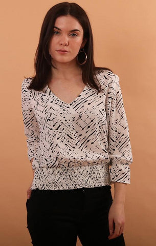 SMOCKED BAND BLOUSE VERONICA M BLACK AND WHITE SALE BLOUSES