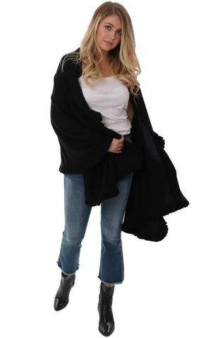 MICHAEL STARS WRAPS BLACK SHAWL RUFFLE TRIM SOFT KNIT BLACK BLANKET WRAP