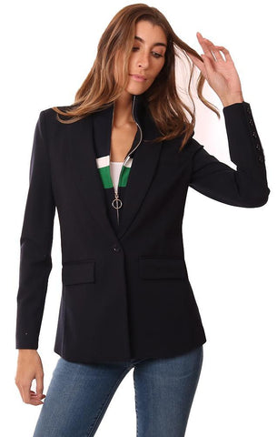 CENTRAL PARK WEST JACKETS LAYERED ZIP UP INSERT NAVY BLAZER