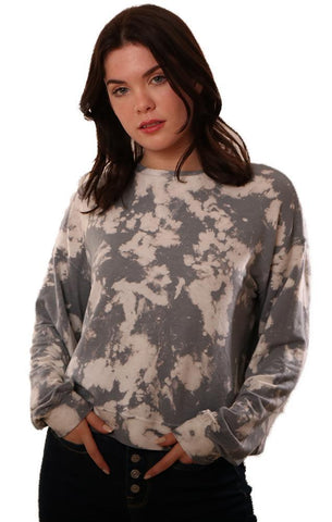 SIX FIFTY TOPS CREW NECK LONG SLEEVE BLEACHED GREY PULLOVER