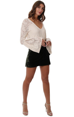 Red Haute Tops V Neck Long Beel Sleeve Lace Ivory Blouse Top