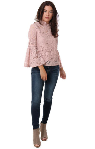 BB DAKOTA TOPS BELL SLEEVE LACE HIGH NECK BUTTON UP PINK BLOUSE