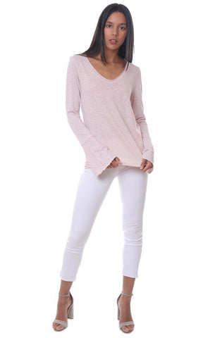 MICHAEL STARS TOPS SOFT V NECK LONG BELL SLEEVE RELAXED PINK T-SHIRT