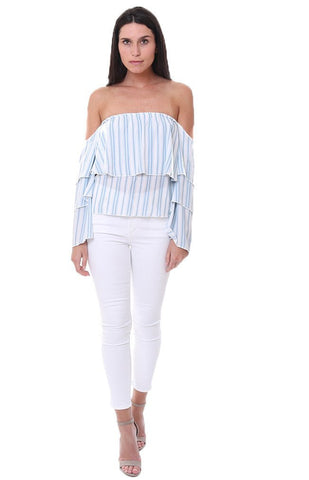 01cd9559ad Blue and white nautical stripes always evoke a beachy feel, so what better  place to wear this striped top than to the ocean! This Vintage Havana off  the ...