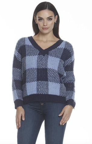 V NECK SWEATER METRIC SOFT AND WARM BLUE PLAID FALL KNIT
