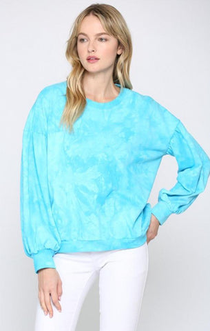 FRENCH TERRY TIE DYE SWEATSHIRT AQUA BLUE MINT EXCLUSIVES TOPS