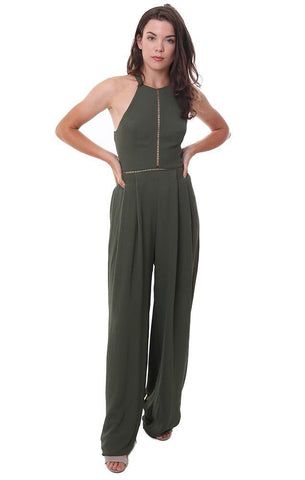 Blue Blush Jumpsuits Olive Green High Halter Neck Wide Leg Sleeveless Jumpsuit