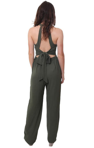 Blue Blush Jumpsuits Halter Neck Wide Leg Sleeveless Tied Back Olive Green Jumpsuit