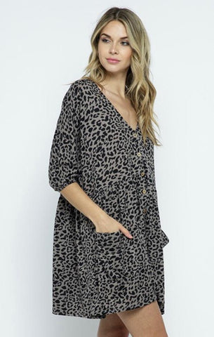KARLIE DRESS IN THE BEGINNING GREAY AND BLACK ANIMAL PRINT BABYDOLL MINI DRESS