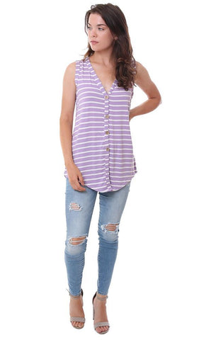 BIBI TOPS V NECK STRIPED BUTTON DOWN PURPLE / WHITE TANK TOP
