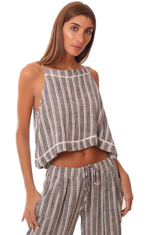 BELLA DAHL TOPS BUTTON BACK STRIPED FLOWY CROPPED BEACH TANK