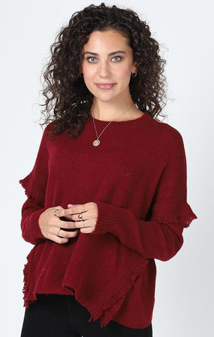 SYCAMORE FRINGE SWEATER CENTRAL PARK WEST BURGUNDY HOLIDAY KNITS