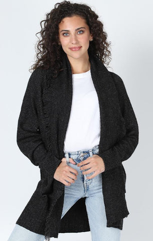 SYCAMORE FRINGE CARDIGAN CENTRAL PARK WEST RAW EDGE FALL KNIT