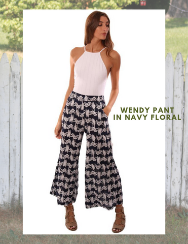CP SHADES PANTS HIGH WAISTED WIDE LEG FLOWY LINEN FLORAL NAVY PANT