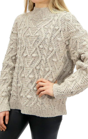 MARLEY MOCK NECK SWEATER RD STYLE CABLE KNIT PULLOVER KNIT