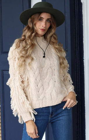 CABLE FRINGE PULLOVER 525 AMERICA BOHO SWEATERS