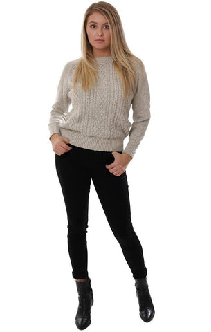 BB DAKOTA SWEATERS CABLE KNIT CREW NECK VELVET BOW BACK TIE IVORY KNIT PULLOVER