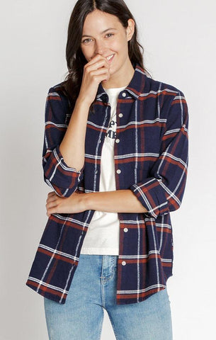 CAMBER SHIRT THREAD AND SUPPLY NAVY PLAID BUTTON DOWN TOP