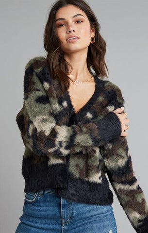 CARDIGAN SWEATER BELLA DAHL FUZZY COMFY WARM CAMO SWEATERS