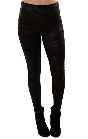 SPANX LEGGINGS HIGH WAISTED FAUX LEATHER BLACK CAMO LEGGING
