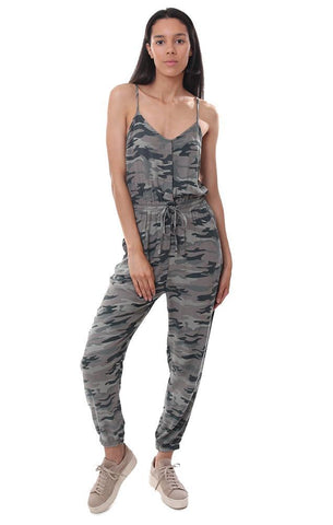 JUMPSUITS CAMO PRINT BUTTON UP DRAWSTRING WAIST JOGGER BOTTOM JUMPER