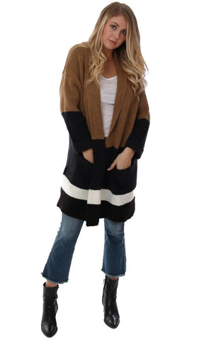SWEATERS COLOR BLOCK LONG SLEEVE OPEN FRONT COLLARED COZY KNIT OVERSIZED CARDI JACKET