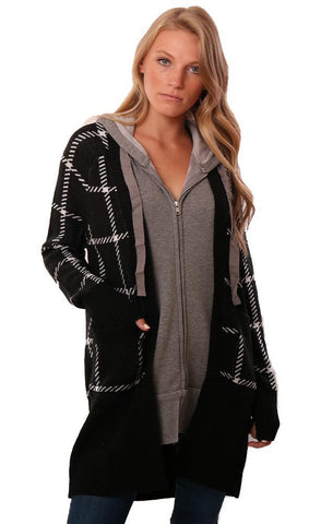 CENTRAL PARK WEST CARDIGANS GREY HOODIE LINING BLACK CHECKED OPEN FRONT KNIT CARDI