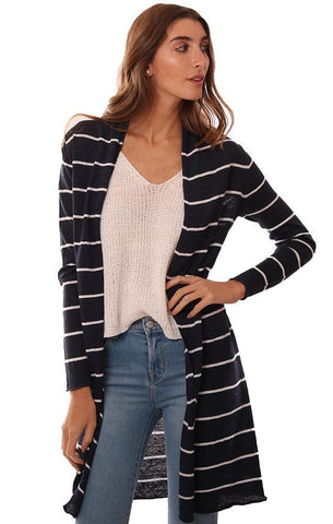 IN CASHMERE CARDIGANS STRIPED OPEN FRONT NAVY LINEN CARDI