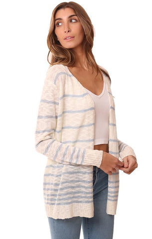CARDIGANS OPEN FRONT LIGHTWEIGHT STRIPED KNIT BEACHY CARDI SWEATER