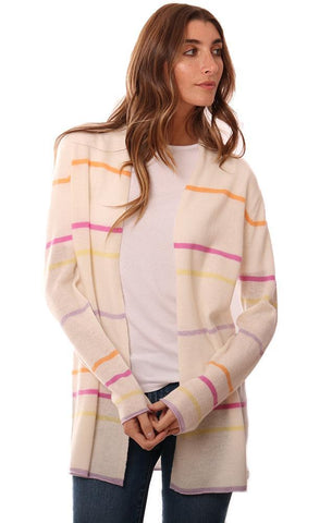 IN CASHMERE CARDIGANS STRIPED OPEN FRONT SOFT KNIT SPRING CARDI