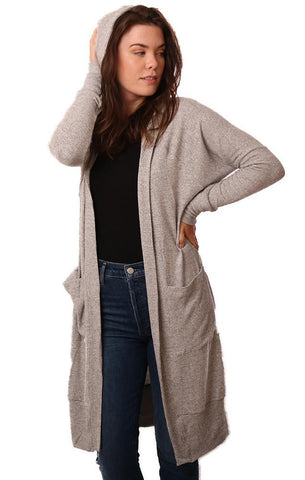 LA MADE CARDIGANS LONG SLEEVE HOODED OPEN FRONT SOFT LONG GREY CARDI