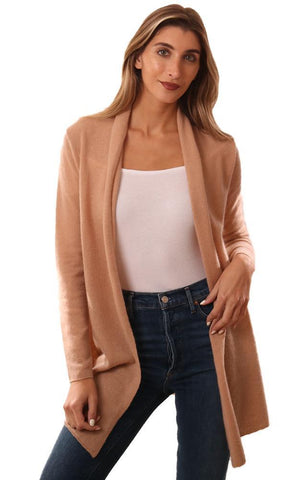 IN CASHMERE CARDIGANS LONG SLEEVE OPEN FRONT TAN CASHMERE CARDI