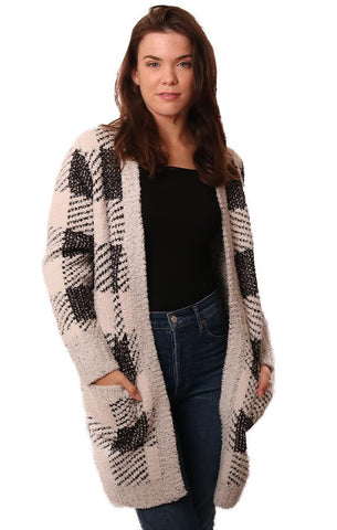 METRIC CARDIGANS OPEN FRONT PLAID COZY SOFT CHECKED CARDI