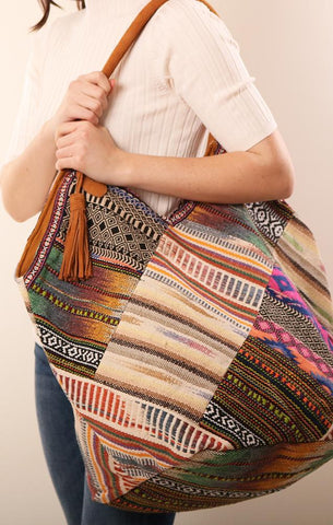 HANDBAGS LARGE MULTI COLORED EMBROIDERED BOHO CARPET TOTE