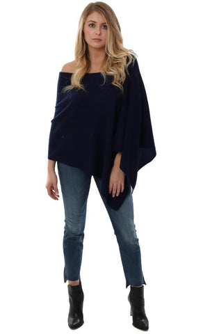 CASHMERE TOPPERS SOFT NAVY LAYERING PONCHO SHAWL