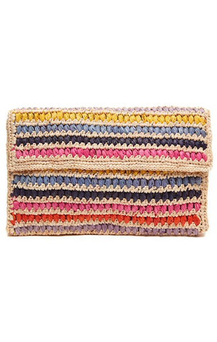 CHLOE STRIPED CLUTCH FOLDOVER WOVEN RAFFIA SUMMER HANDBAGS