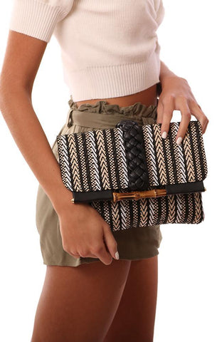 HANDBAGS FOLD OVER BRAIDED WOVEN BLACK PATTERN CLUTCH