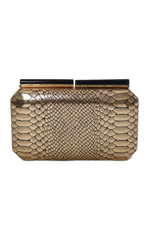 HANDBAGS FAUX SNAKE SKIN DECORATIVE CLASP GOLD EDGY CHIC MINI PARTY CLUTCH
