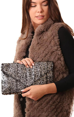 HANDBAGS FAUX LEATHER SNAKESKIN GLIMMER PRINTED SILVER CLUTCH