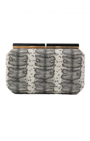 HANDBAGS FAUX SNAKE SKIN DECORATIVE CLASP BLACK WHITE EDGY CHIC MINI CLUTCH
