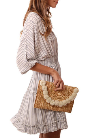 HANDBAGS WOVEN STRAW ENVELOPE IVORY POM POM CLUTCH