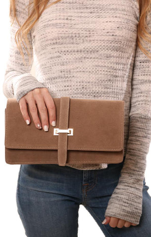 HANDBAGS SUEDE TAN PARTY CLUTCH