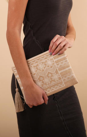 ZIG ZAG CLUTCH TRIBAL DESIGN EMBROIDERED TASSEL BAGS