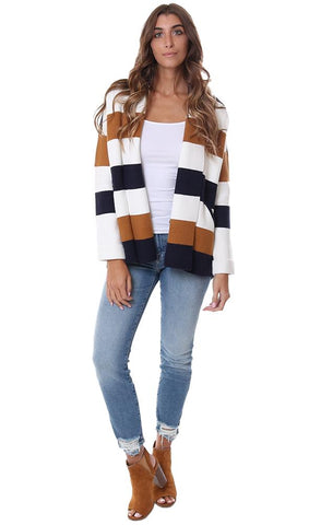 SWEATERS STRIPED LONG SLEEVE OPEN FRONT COLLARED FALL COZY KNIT CARDI