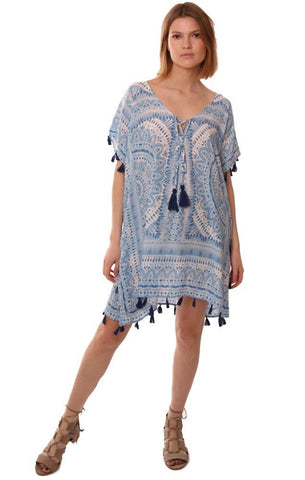 VINTAGE HAVANA DRESSES LACE UP PRINTED TASSEL BOHO BEACH COVER UP